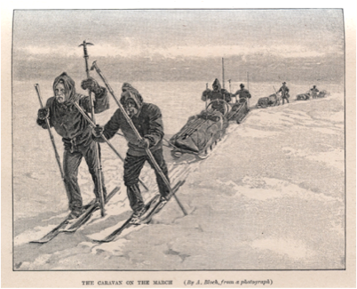 1888 - Illus. of Fridtjof Nansen and team on skis in Greenland with sledges, using two long poles - with ice-axe attachments on one of ea. pair