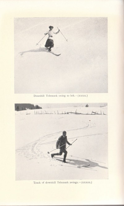 1912 - Photographs of downhill Telemark turns carrying poles loosely by middle
