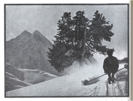 "1928 - Photo of straight running or ""Schuss"" in Arlberg, and how to hold the sticks"