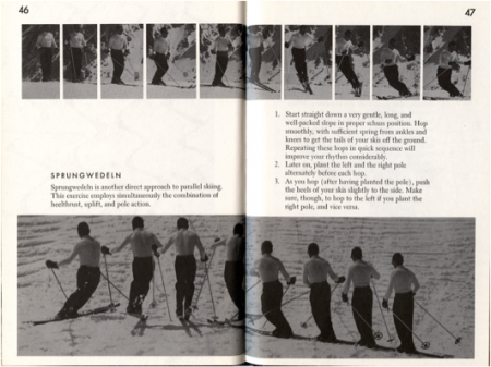 1960 - Photo sequences demonstrating the Sprungwedeln (short rhythmic turns with a hop) with use of pole