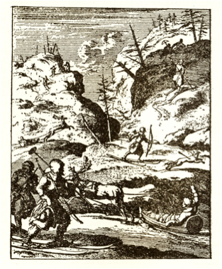 1682 - Illus. from Schaller's Laponia, 1682, with skiers on long equal length skis, with tails