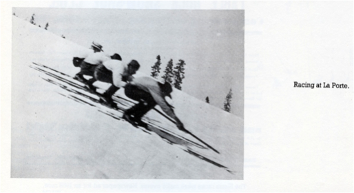 Circa 1865 - Photo of Downhill racers at La Porte, Calif., using low crouch and single pole circa 1865