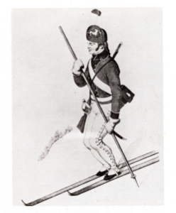 1747 - Norwegian Soldier with one long ski and one short, and with one pole