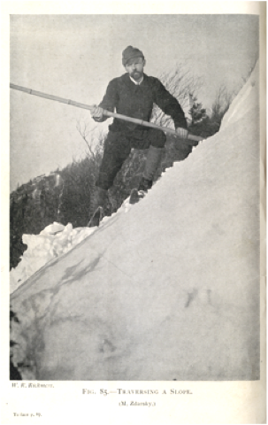 Circa 1900 - Photograph of Mathias Zdarsky on his skis with alpenstock.