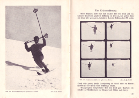 1925 - Photographs of style of balanced ski-ing poles