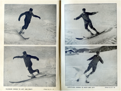 1909 - Photos of Telemark (l.) and Christiania (r.) down- hill turns without the use of poles