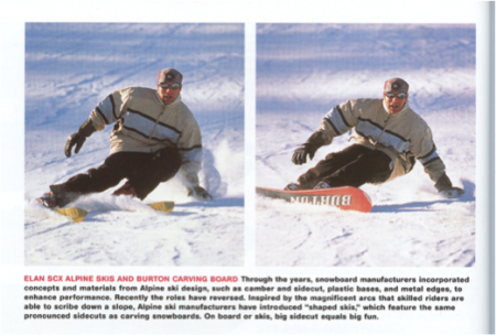 Photos showing snowsportster on shaped skis, and on snowboard, carving turns