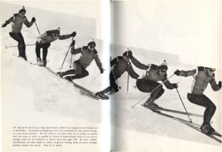 "1967 – Sequences of Patrick Roussel using ""avalement"" and pole use, skiing series of moguls"
