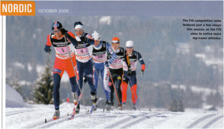 2005 - Photograph of Cross-Country ski racers with long Nordic-style poles.