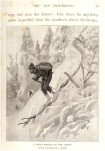 Circa 1873 - Illus. showing a swift downhill skier with one pole not being used as brake